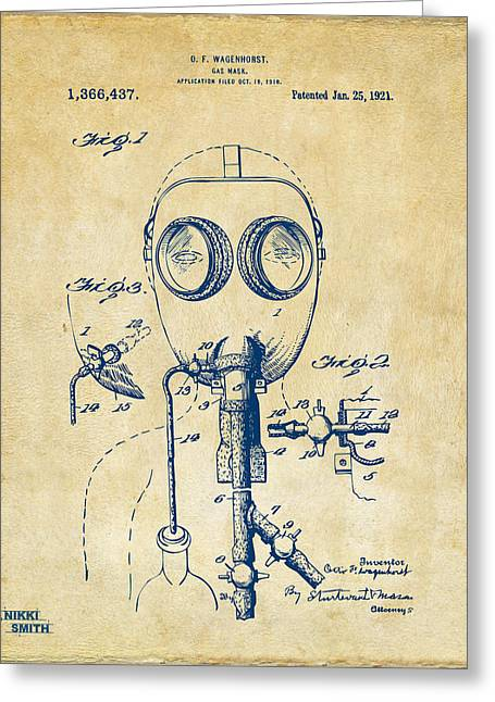 Goggle Greeting Cards - 1921 Gas Mask Patent Artwork - Vintage Greeting Card by Nikki Marie Smith