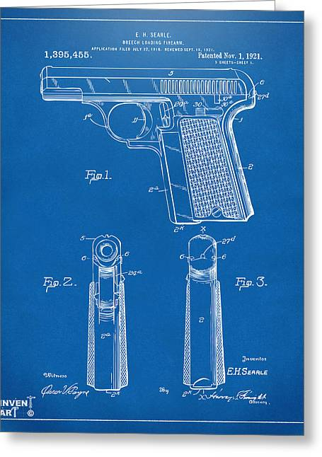 Fire Arm Greeting Cards - 1921 Searle Pistol Patent Artwork - Blueprint Greeting Card by Nikki Marie Smith
