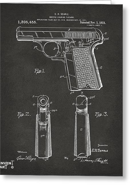 Fire Arm Greeting Cards - 1921 Searle Pistol Patent Artwork - Gray Greeting Card by Nikki Marie Smith