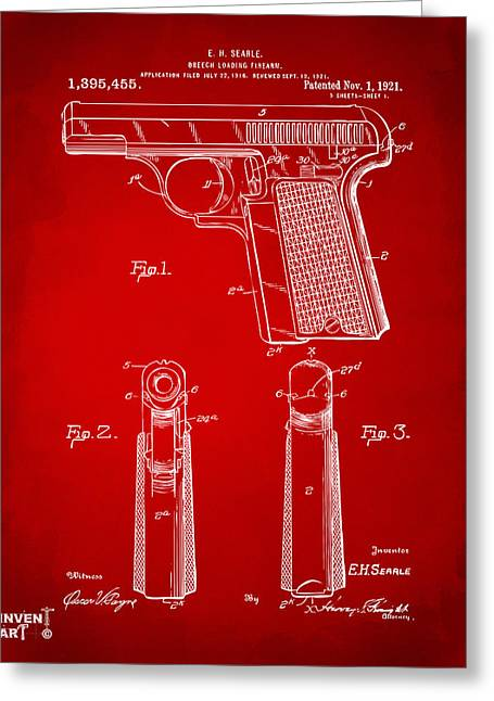 Fire Arm Greeting Cards - 1921 Searle Pistol Patent Artwork - Red Greeting Card by Nikki Marie Smith