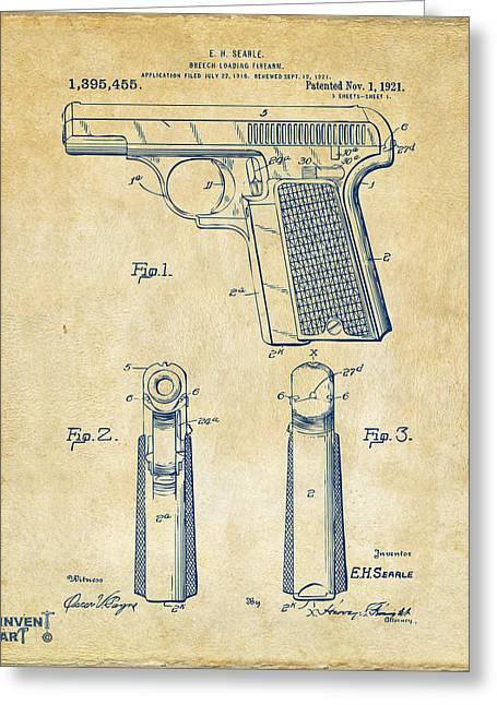 Fire Arm Greeting Cards - 1921 Searle Pistol Patent Artwork - Vintage Greeting Card by Nikki Marie Smith