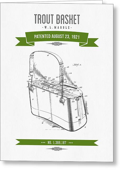 Fishing Mixed Media Greeting Cards - 1921 Trout Basket Patent Drawing - Green Greeting Card by Aged Pixel