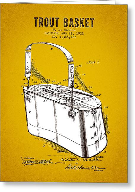 Trout Fishing Greeting Cards - 1921 Trout Basket Patent - Yellow Brown Greeting Card by Aged Pixel