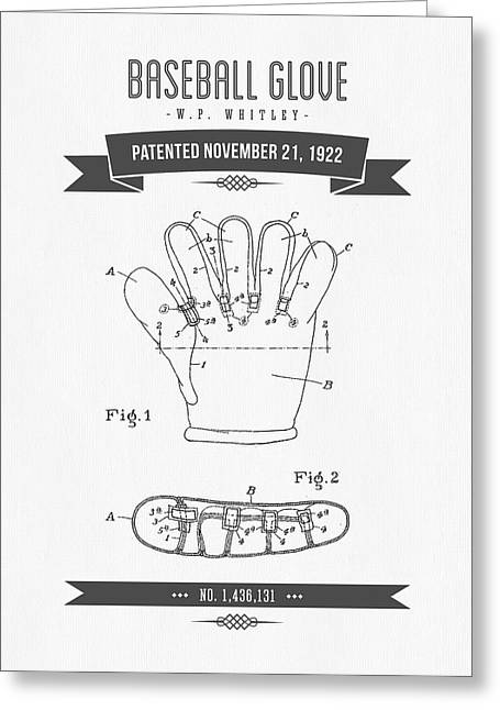 Baseball Game Greeting Cards - 1922 Baseball Glove Patent Drawing Greeting Card by Aged Pixel