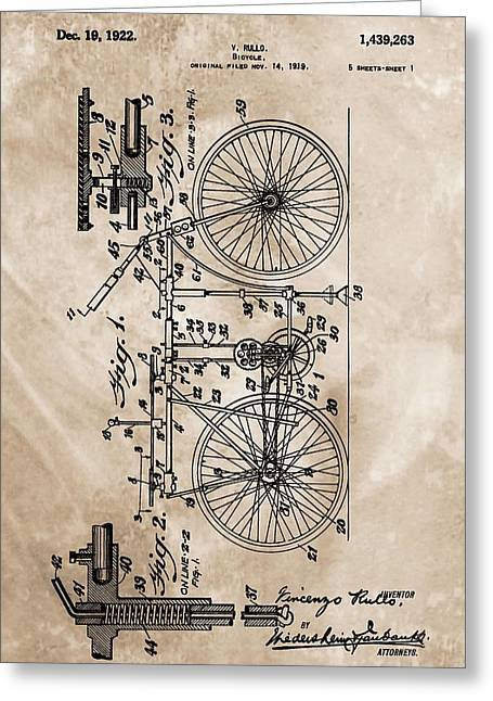 Gear Mixed Media Greeting Cards - 1922 Bicycle Patent Greeting Card by Dan Sproul