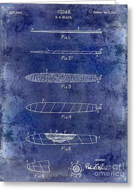 Cigar Greeting Cards - 1922 Cigar Patent Drawing Blue Greeting Card by Jon Neidert