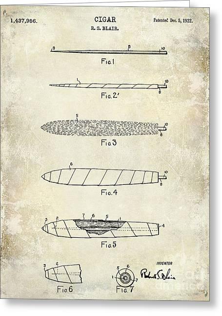 1922 Cigar Patent Drawing Greeting Card by Jon Neidert