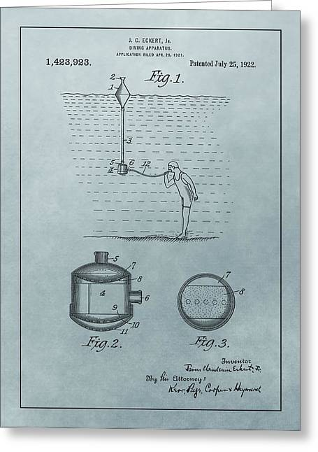 Underwater Breathing Greeting Cards - 1922 Diving Apparatus Patent Illustration Greeting Card by Dan Sproul