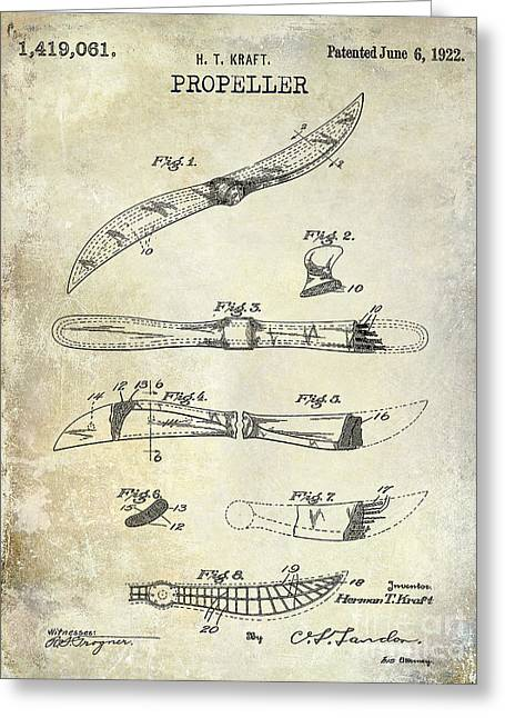 Vintage Airplane Greeting Cards - 1922 Propeller Patent Drawing Greeting Card by Jon Neidert