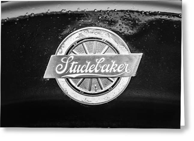 Black And White Photos Greeting Cards - 1922 Studebaker Logo -0325bw Greeting Card by Jill Reger