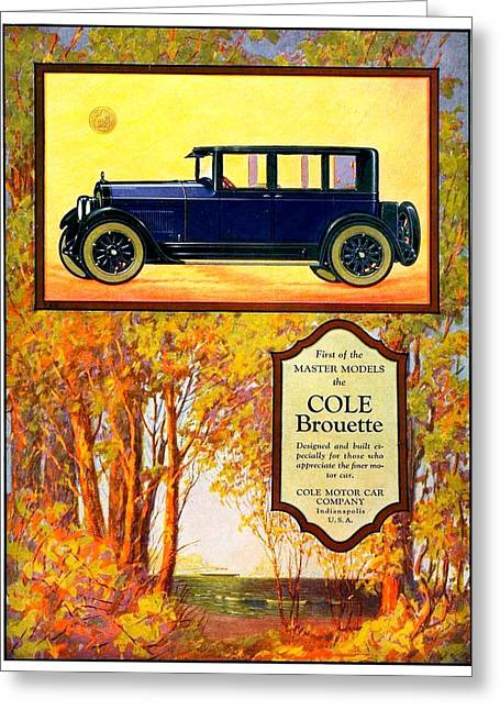 Cole Greeting Cards - 1923 - Cole Brouette Automobile Advertisement - Color Greeting Card by John Madison
