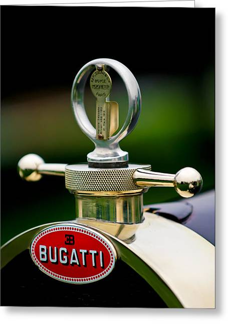 Vintage Hood Ornaments Greeting Cards - 1923 Bugatti Type 23 Brescia Lavocat et Marsaud Hood Ornament Greeting Card by Jill Reger