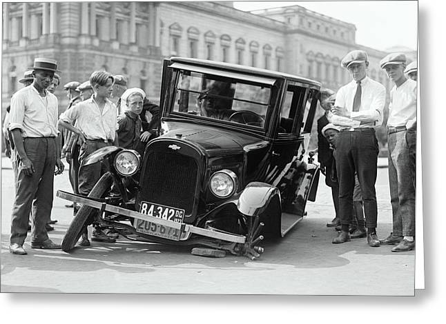 Wrecked Cars Greeting Cards - 1923 Chevrolet Accident Greeting Card by Daniel Hagerman