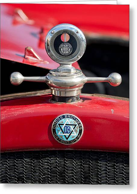 Collector Hood Ornament Greeting Cards - 1923 Dodge Brothers Hood Ornament Greeting Card by Jill Reger