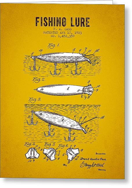 Tackle Greeting Cards - 1923 Fishing Lure Patent - Yellow Brown Greeting Card by Aged Pixel