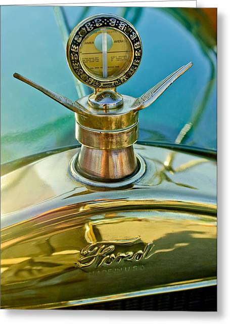Best Sellers -  - Ford Model T Car Greeting Cards - 1923 Ford Model T Hood Ornament Greeting Card by Jill Reger