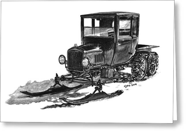 Ford Model T Car Greeting Cards - 1923 Ford Model T Snowmobile Greeting Card by Nickela Zais