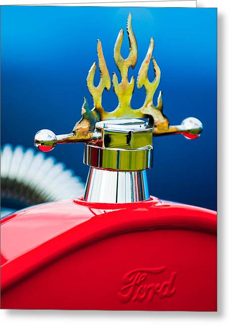 Collector Hood Ornament Greeting Cards - 1923 Ford T-Bucket Aftermarket Hood Ornament Greeting Card by Jill Reger