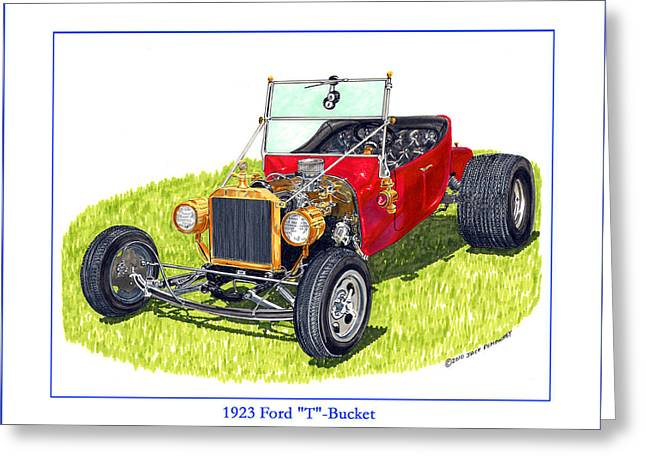 Crisp Drawings Greeting Cards - T Bucket Ford 1923 Greeting Card by Jack Pumphrey
