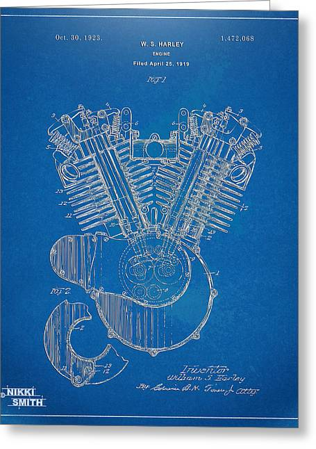 Blueprint Greeting Cards - 1923 Harley Davidson Engine Patent Artwork - Blueprint Greeting Card by Nikki Smith