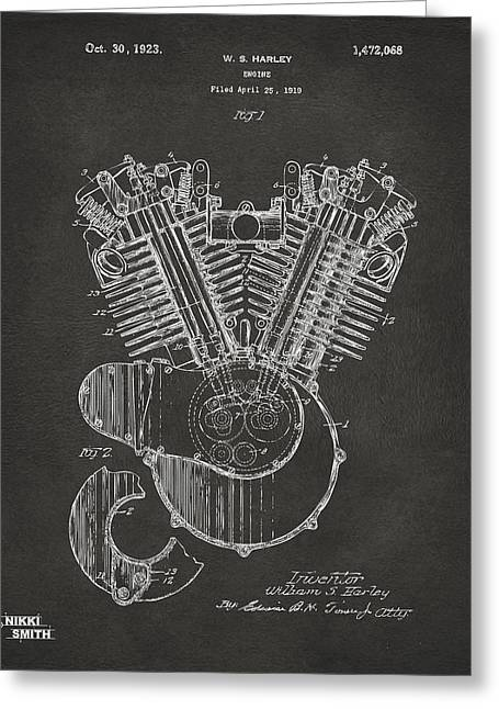 Harley Davidson Greeting Cards - 1923 Harley Engine Patent Art - Gray Greeting Card by Nikki Marie Smith