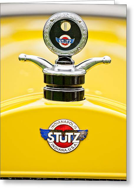 Car Show Photography Greeting Cards - 1923 Stutz KLDH Bearcat Hood Ornament Greeting Card by Jill Reger