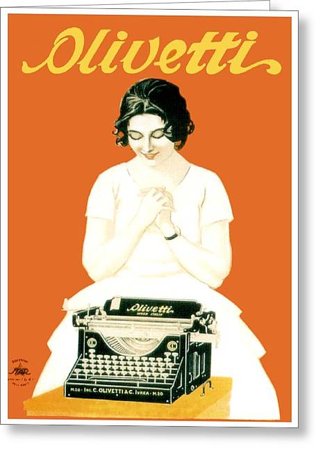 Olivetti Digital Greeting Cards - 1924 - Olivetti Typewriter Advertisement Poster - Color Greeting Card by John Madison