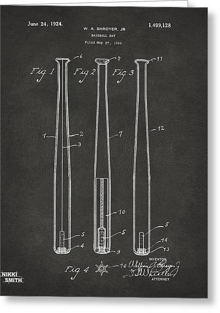 Player Digital Art Greeting Cards - 1924 Baseball Bat Patent Artwork - Gray Greeting Card by Nikki Marie Smith