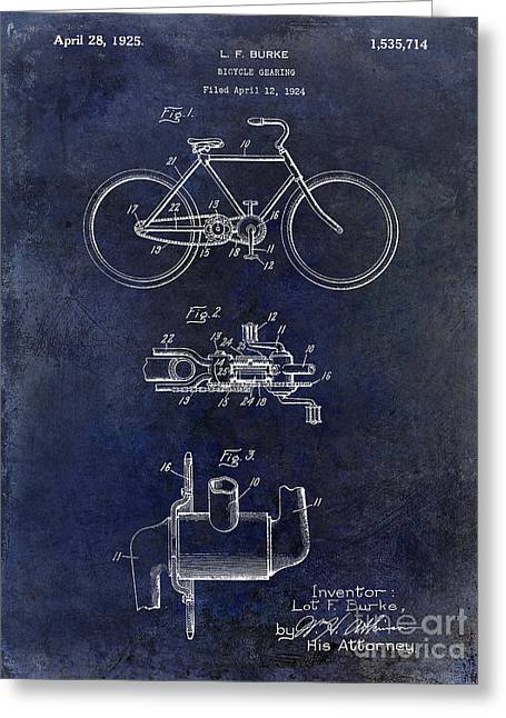 Vintage Bicycle Photographs Greeting Cards - 1924 Bicycle Patent Drawing Blue Greeting Card by Jon Neidert
