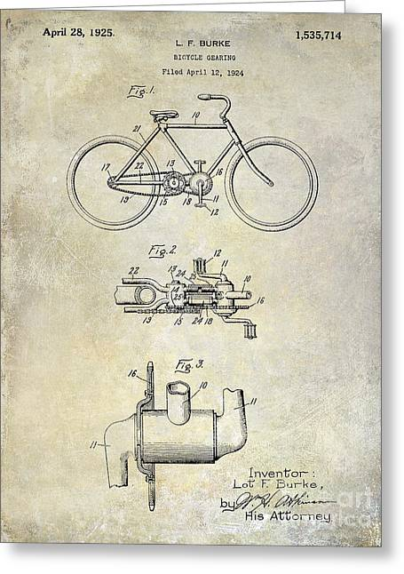 Lance Armstrong Greeting Cards - 1924 Bicycle Patent Drawing Greeting Card by Jon Neidert