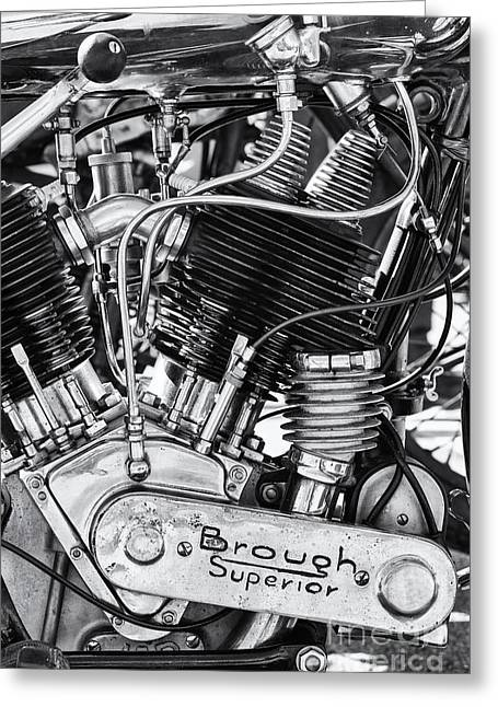 1924 Greeting Cards - 1924 Brough Superior SS80 Engine Greeting Card by Tim Gainey
