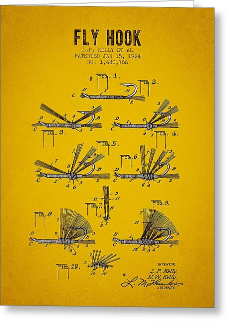 Trout Fishing Greeting Cards - 1924 Fly Hook Patent - Yellow Brown Greeting Card by Aged Pixel