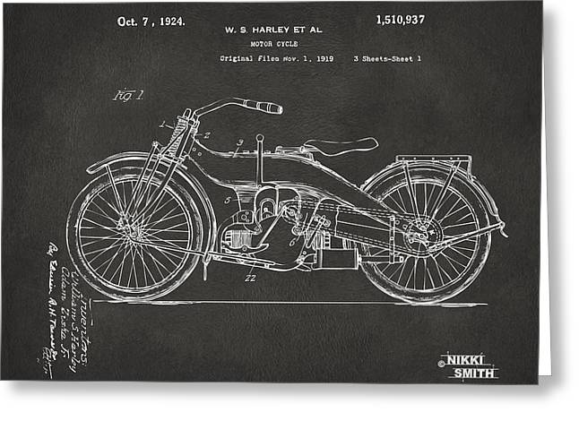 Harley Davidson Greeting Cards - 1924 Harley Motorcycle Patent Artwork - Gray Greeting Card by Nikki Marie Smith