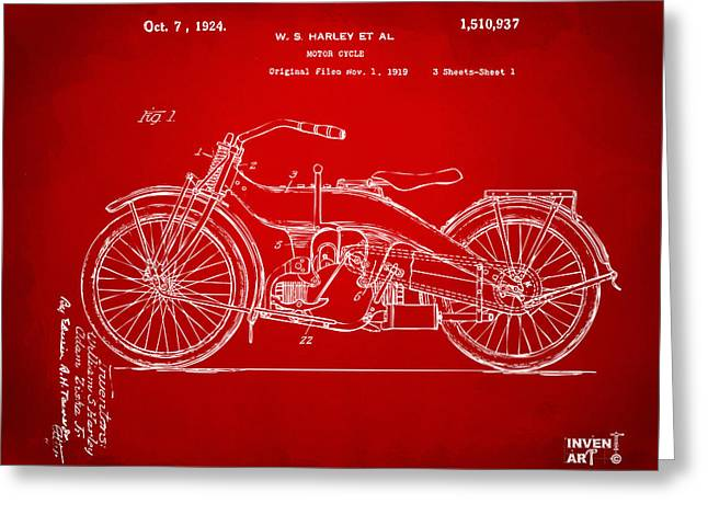 Road Travel Drawings Greeting Cards - 1924 Harley Motorcycle Patent Artwork Red Greeting Card by Nikki Marie Smith