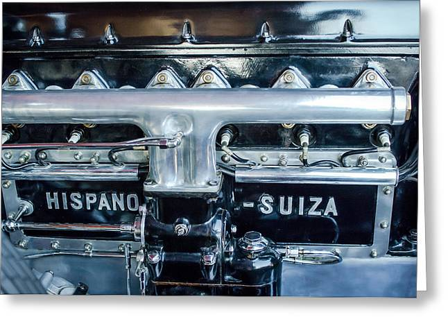 Suiza Greeting Cards - 1924 Hispano-Suiza Engine Emblem -0120c Greeting Card by Jill Reger