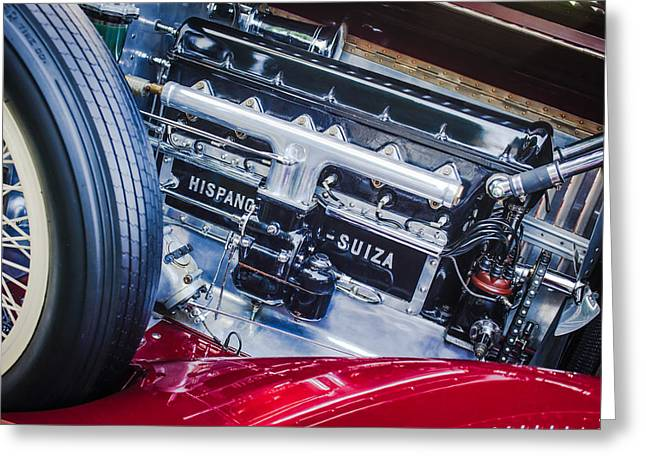 Suiza Greeting Cards - 1924 Hispano-Suiza H6b Dual  Cowl Sport Phaeton Engine Emblem Greeting Card by Jill Reger