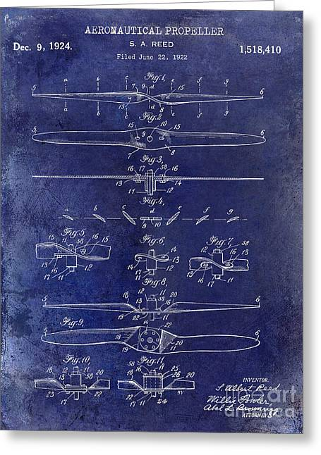 1924 Propeller Patent Drawing Blue Greeting Card by Jon Neidert