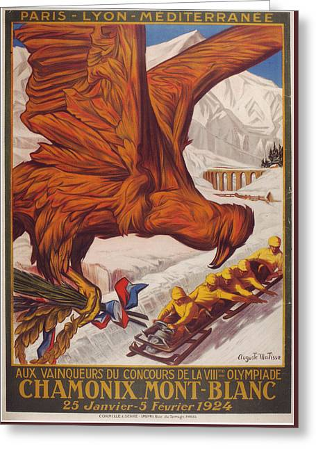 1924 Winter Olympic Games France Chamonix Greeting Card by MotionAge Designs