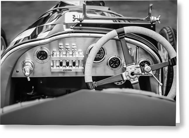 Cam Greeting Cards - 1925 Aston Martin 16 Valve Twin Cam Grand Prix Steering Wheel -0790bw Greeting Card by Jill Reger