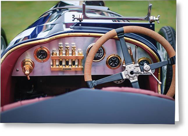 Cam Greeting Cards - 1925 Aston Martin 16 Valve Twin Cam Grand Prix Steering Wheel -0790c Greeting Card by Jill Reger