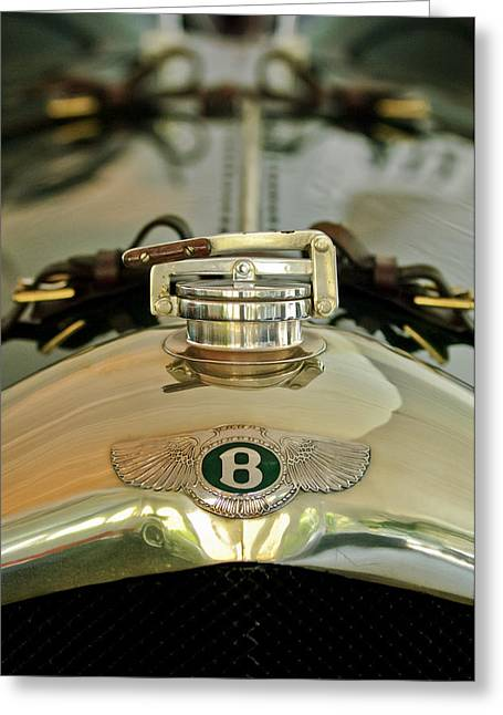 2011 Greeting Cards - 1925 Bentley 3-Liter 100mph Supersports Brooklands Two-Seater Radiator Cap Greeting Card by Jill Reger