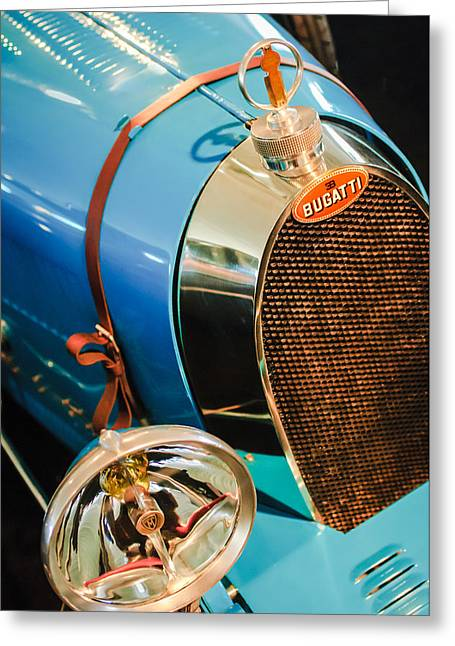 35 Greeting Cards - 1925 Bugatti Type 35 Grand Prix Grille Emblem - Hood Ornament Greeting Card by Jill Reger