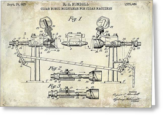 Cigar Greeting Cards - 1925 Cigar Moistening Patent Drawing Greeting Card by Jon Neidert