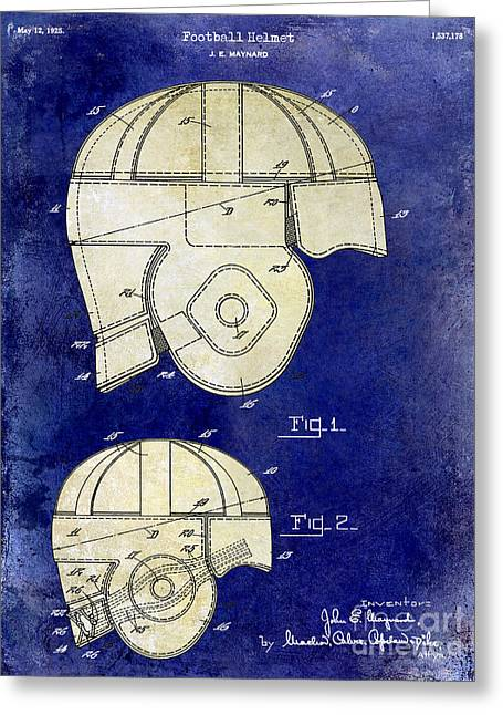 Fantasy Football Greeting Cards - 1925 Football Helmet Patent Drawing 2 Tone Blue Greeting Card by Jon Neidert
