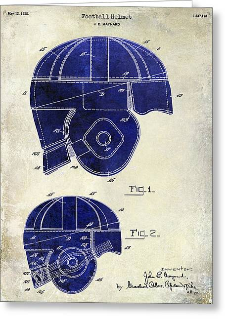 Fantasy Football Greeting Cards - 1925 Football Helmet Patent Drawing 2 Tone Greeting Card by Jon Neidert