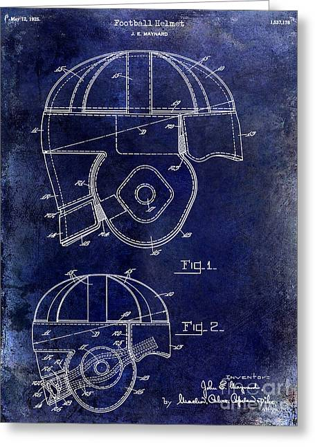 Ny Jets Greeting Cards - 1925 Football Helmet Patent Drawing Blue Greeting Card by Jon Neidert