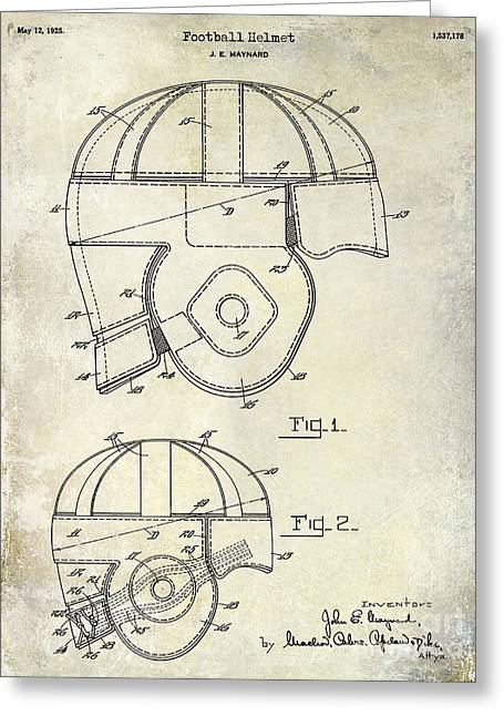 Fantasy Football Greeting Cards - 1925 Football Helmet Patent Drawing Greeting Card by Jon Neidert