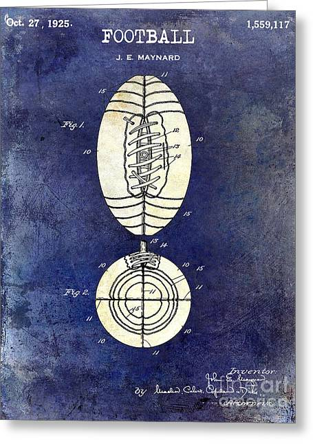 Fantasy Football Greeting Cards - 1925 Football Patent Drawing 2 Tone Blue Greeting Card by Jon Neidert
