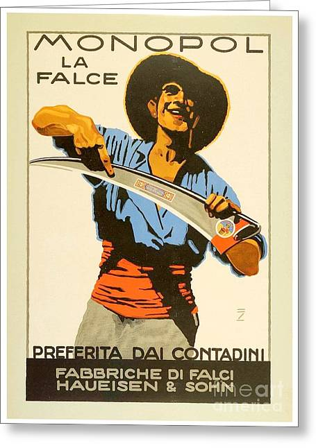 1916 Digital Greeting Cards - 1926 - Lugwig Hohlwein  - Monopol la Falce - Italian Poster - Color Greeting Card by John Madison