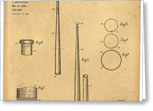 Baseball Glove Greeting Cards - 1926 Baseball Bat Patent Art Middlekauf 1 Greeting Card by Nishanth Gopinathan